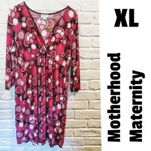 Motherhood Maternity pink & brown circle dress, XL